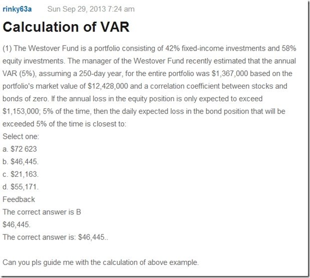 question on calculation of VaR